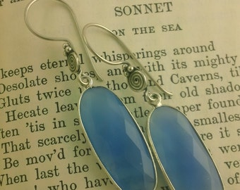 Lush Cornflower Blue Chalcedony and Sterling Silver Earrings