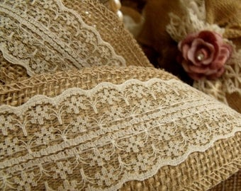 2.2 yards ~25mm,40mm,60mmwidth  --Natural Jute Burlap Ribbon with Ivory Lace Trims Tape Rustic Wedding