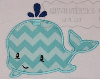Whale 2 Machine Embroidery Applique Design