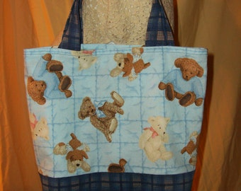 Child's Tote Bag - Blue Teddy Bear Tote - Small Tote Bag - Kid's Book Bag
