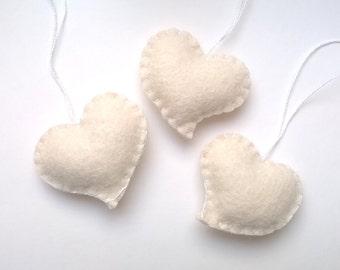 White heart ornament - wedding favors - felt ornaments - Birthday/Christmas/Baby/It's a Girl/Housewarming home decor