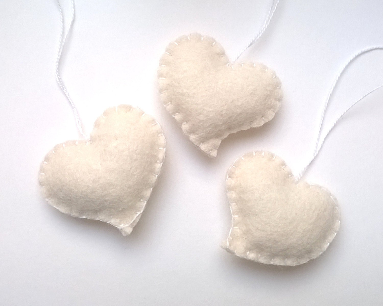 White Heart Ornament Wedding Favors Felt By Grabacoffee On Etsy