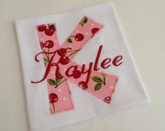 Girls Shirt Applique Personalized Embroidery