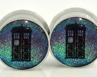 Doctor Who Holographic Image Plugs - 1/2, 9/16, 5/8,11/16,3/4,7/8,24mm,26mm