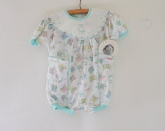 Vintage Baby Romper / 1970's Deadstock Romper / Vintage Kitty Cat Romper / Cut Out Kitties  6/9M
