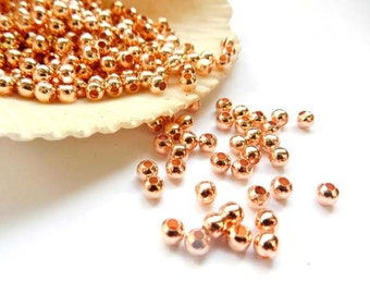 100 Rose Gold Spacer Beads - 3mm