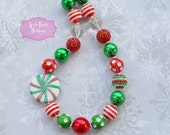 Peppermint swirl Chunky Necklace Peppermint candy chunky necklace peppermint red green bubblegum necklace christmas bubblegum necklace