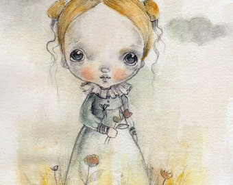 Dreamer' Original painting on 100%cotton paper,OOAK