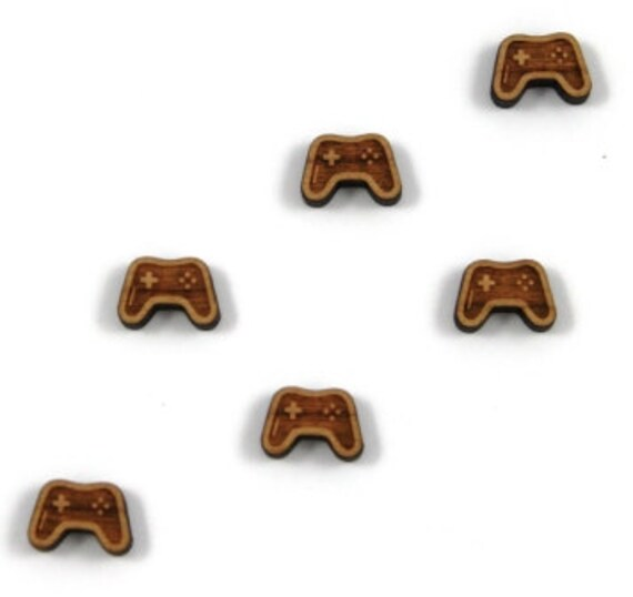 Laser Cut Supplies- 8 Pieces.Retro Game Controller Charms.Laser Cut Wood-Earring Supplies-Little Laser Lab Sustainable Wood Products
