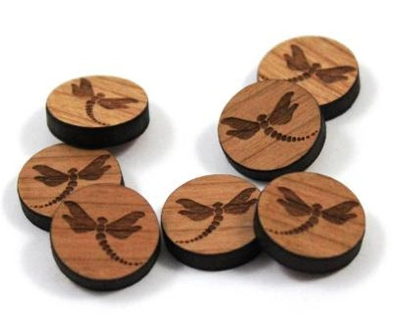 Laser Cut Supplies-8 Pieces.Dragon Fly Charms -Laser Cut Wood Dragon Fly-Earring Supplies-Little Laser Lab Sustainable Wood Products
