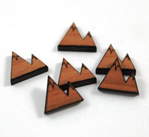 Laser Cut Supplies-8 Pieces.Glacier Mountain Charms - Laser Cut Wood -Earring Supplies- Little Laser Lab Sustainable Wood Products