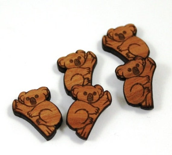 Laser Cut Supplies-8 Pieces.Koala on Branch Charms -Laser Cut Wood Koala-Earring Supplies- Little Laser Lab Sustainable Wood Products