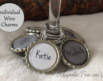 ONE WINE CHARM, Personalized Wine Charms, Bachelorette Party Favors, Wedding Favor, Custom Name, Wine Rings