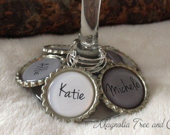 Personalized Wine Charms, Set of 6, Bachelorette Party Favors, Wedding Favor, Custom Name, Wedding Party, Wine Rings