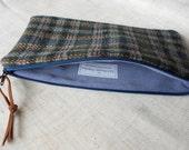 Blue Wool Plaid Pencil Case Zipper Pouch