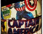"1.5""W Captain America Fabric Wrapped Nylon Dog Collar"