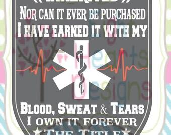Paramedic Blood, Sweat & Tears.  SVG