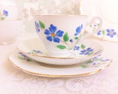 Lovely Vintage Tea Trio with Hand Painted Blue Flowers.