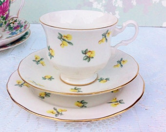 Sale***Dainty Yellow Flower Tea Trio, Royal Kent