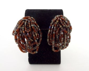 Vintage Brown and Gunmetal Beaded Cluster Earrings