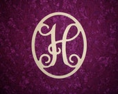 """Monogram Letter H Wood Cut Out Unfinished Wooden MDF Paintable Letters 12"""" Tall"""