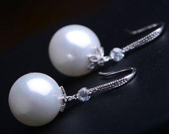 Bridal Pearl Earrings Wedding Jewelry Swarovski Pearls Cubic Zirconia Simple Dangle Classic Earrings Bridesmaid Gifts White