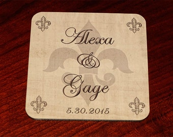 Personalized Wedding Gift Coasters - Wedding Couple First Names - Wedding Date - set of 4 with slotted mahogany holder  Fleur de Lis