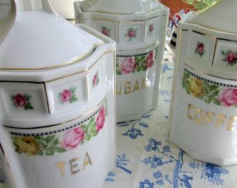 Set of 3 Canisters, Porcelain, Czechoslovakian