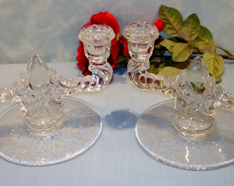 New Martinsville Florentine Teardrop Crystal 1940s Candlesticks