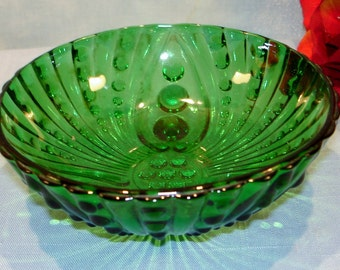 Forest Green by Anchor Hocking Bubble and Swirl Dessert Bowl 4.5 inch footed