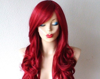 Wine red wig. Long red hair wig. Deep Red long curly hairstyle Heat resistant synthetic wig