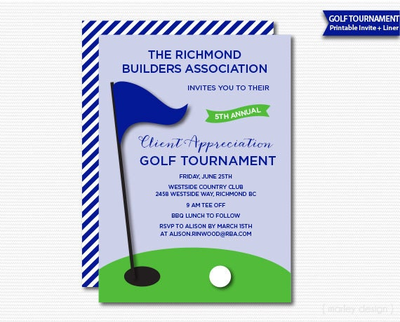 Company Golf Tournament Invitation Printable Golf Invitation Client