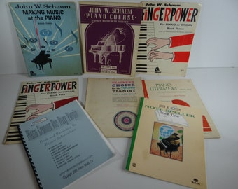 Set of 8 Vintage Piano Instruction Books