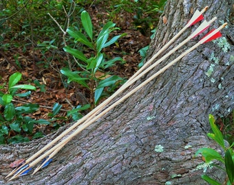 3 Natural Wooden Hunting Arrows with Razor Blades