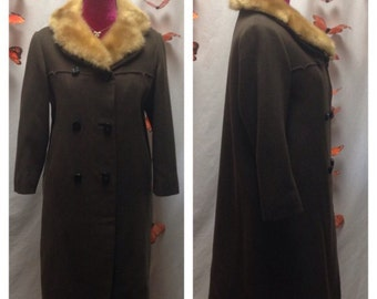Vintage Coat w/ Fur Collar and Carved Buttons