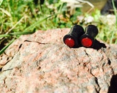 Black jade and Mexican fire opal plugs--Item #100