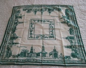 Vintage scarf, historical scarf, green white square scarf, Greenfield Village, Henry Ford Museum, June Critchfield scarf