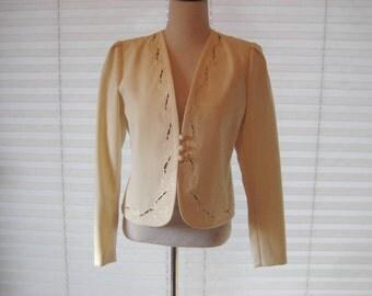 Off white blazer jacket, formal blazer, embroidered, Mother of bride, 80s 90s blazer, Sasson, size medium, 1144