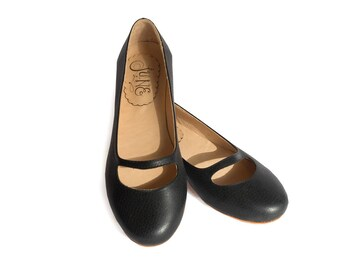 Katia Black - Leather ballet flats in black
