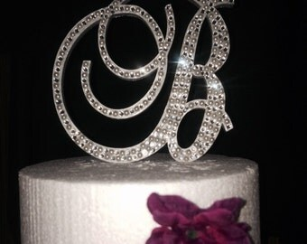 Pearl and Clear Crystal Bling Monogram Cake Topper