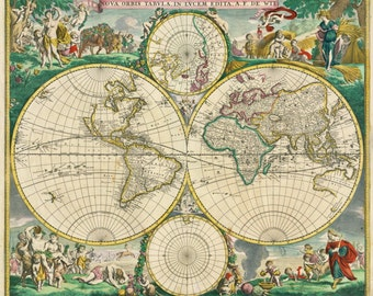 Ancient map, World map poster, Wall world map, Ancient, World globe, Map, Map of the world, 180