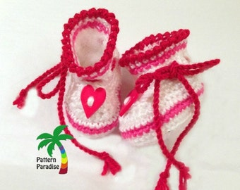 Crochet Pattern for Baby Booties, Hearts of Booties Slippers, PDF 12-099 INSTANT DOWNLOAD