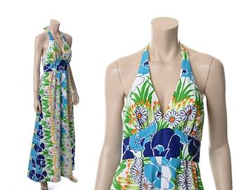 Vintage 70s Tori Richard Hawaiian Halter Dress 1970s Mod Daisy Floral Polynesian Luau Hawaii Maxi Dress Hippie Boho Festival