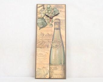 Wine Lovers Wall Clock, Tuscan Decor, Kitchen, Anniversary Gift, Wedding Gift Idea, French, Geekery, Clocks by DanO