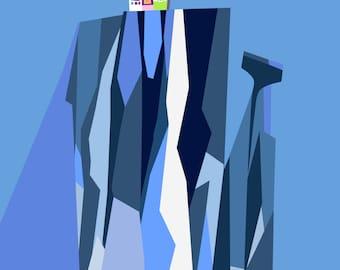 Paradise Falls Painting Minimalist Poster