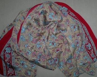 Long Scarf Indian Silk Sari Scarf Beige Scarf Floral LSF1