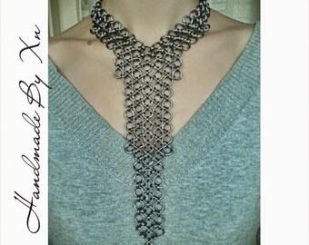 Dark Grey Handmade Long Chainmail Necklace