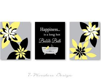 Modern Bathroom Art Prints Happiness is a Long Hot Bubble Bath  // Black, Grey, Yellow - Bathroom Decor- Set of (3) 5x7 or 8x10 Unframed
