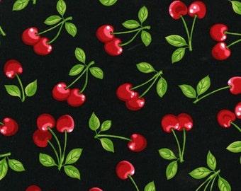 1 Yard, Cherries on Black Cotton Robert Kaufman Screen Print 4018
