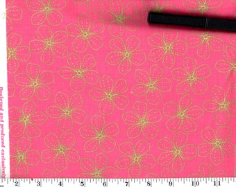 1 Yard, Lime Green Flowers on Pink Cotton
